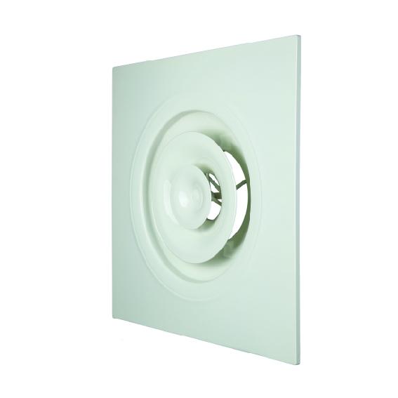 Diffuseurs circulaires réglables pour dalles 600x600 Aldes Aangepast plafondrooster voor plafondtegel 600 x 600 A 842 TP aluminium