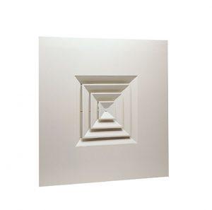 Diffuseurs carrés à noyau amovible pour dalle 600 x 600 Aldes Vierkante roosters met afneembare kern voor plafondtegel 600 x 600 - AN 704 TP